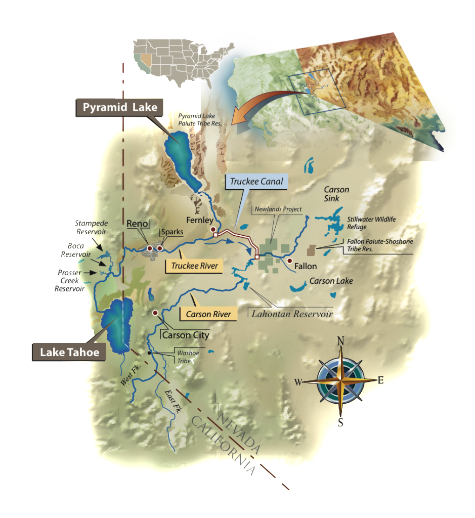 Map of the Truckee-Carson River System, by Ron Oden.